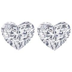 INTERNALLY FLAWLESS D Color GIA Certified 2.14 Carat Heart Shape Diamond Studs