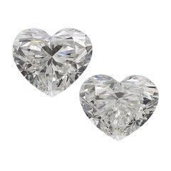 GIA Certified 2 Carat Heart Shape Diamonds White Gold Studs
