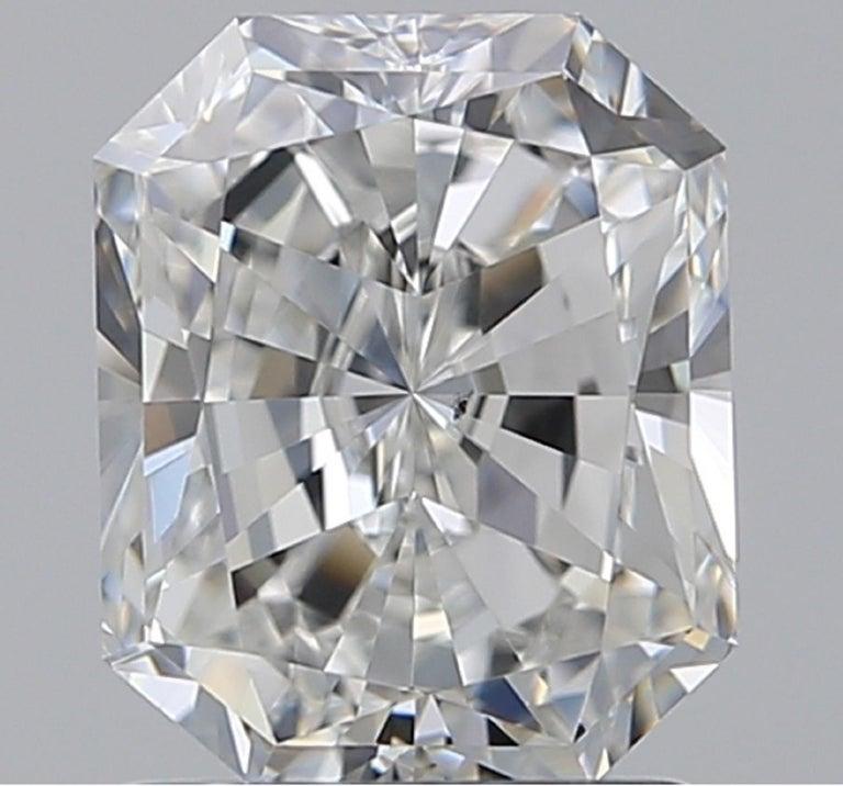 Modern GIA Certified 2 Carat Long Radiant Diamond Ring G VS2 For Sale