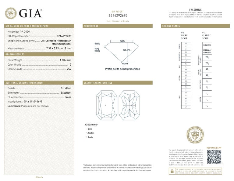 Radiant Cut GIA Certified 2 Carat Long Radiant Diamond Ring G VS2 For Sale