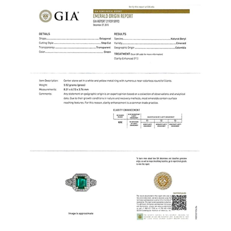 This 18k white gold ring is centered with a GIA certified Colombian emerald that weighs 2.00ct. The center stone is accentuated by dazzling round cut diamonds that weigh approximately 0.50ct. graded H color with VS2-SI1 clarity. The ring is stamped