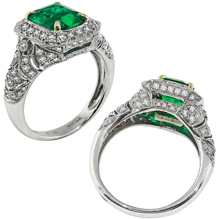 Emerald Cut GIA Certified 2 Carat Natural Colombian Emerald Diamond Gold Ring