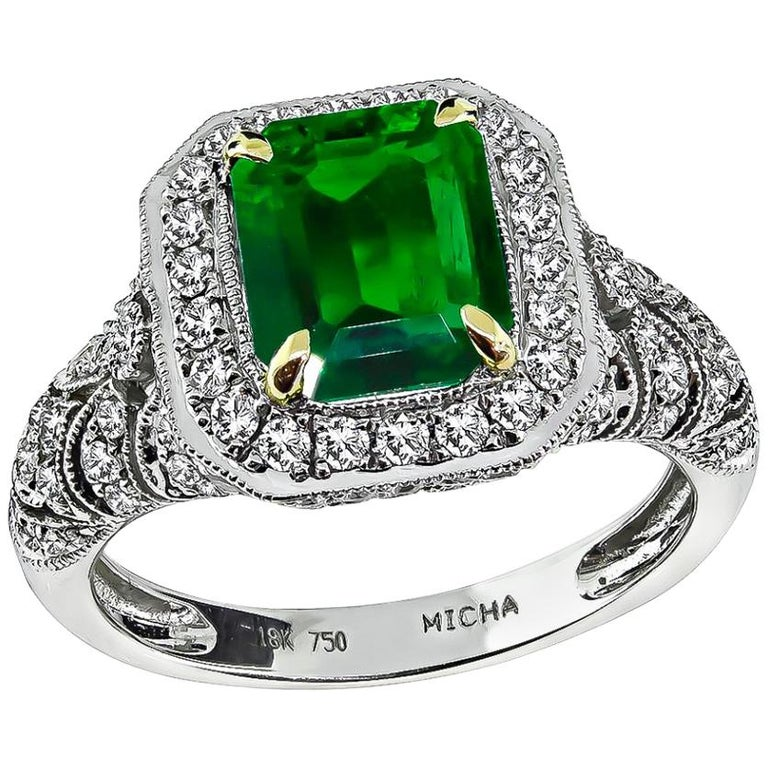 GIA Certified 2 Carat Natural Colombian Emerald Diamond Gold Ring