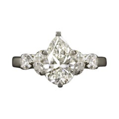 GIA Certified 2 Carat Pear Cut Diamond Platinum and Yellow Gold Ring