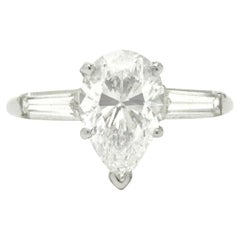 GIA Certified 2 Carat Pear Cut Diamond Solitaire Engagement Ring 3 Stone E VS1