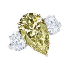 GIA Certified 2 Carat Pear Cut Fancy Yellow Platinum Ring