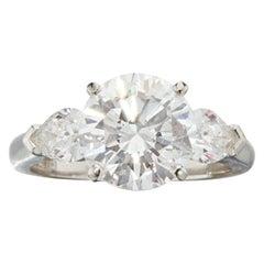 FLAWLESS GIA Certified 2 Carat Round Brilliant Cut Diamond Platinum Ring
