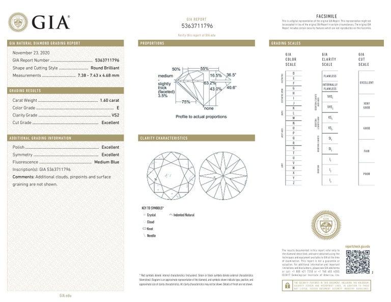 Round Cut GIA Certified 2 Carat Round Brilliant Cut Diamond Ring E VS2 Triple Ex For Sale