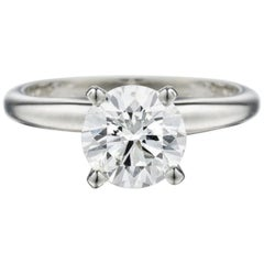 GIA Certified 2 Carat Round Cut Diamond Platinum Ring Flawless D Color