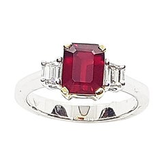 GIA Certified 2 cts Ruby with Diamond Ring Set in 18 Karat White Gold Setting