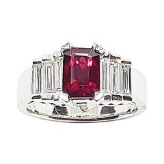 GIA Certified 2 Cts Ruby with Diamond Ring Set in Platinum 950 Settings