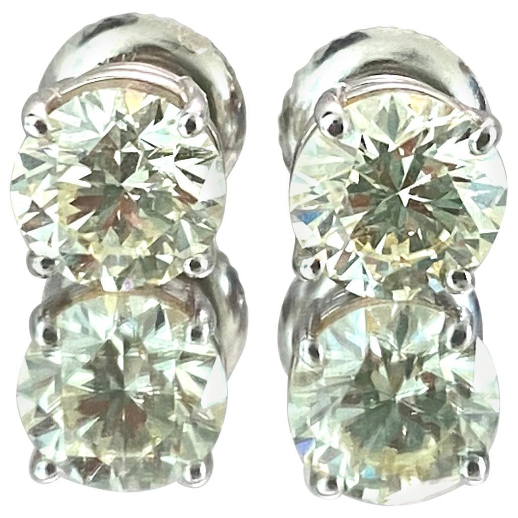 GIA Certified 2.00 Carat Diamond Studs in White Gold