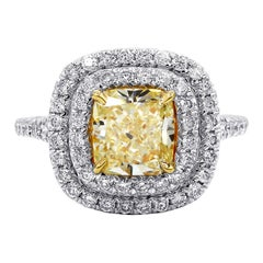 GIA Certified 2.00 Carat Fancy Yellow Diamond Ring