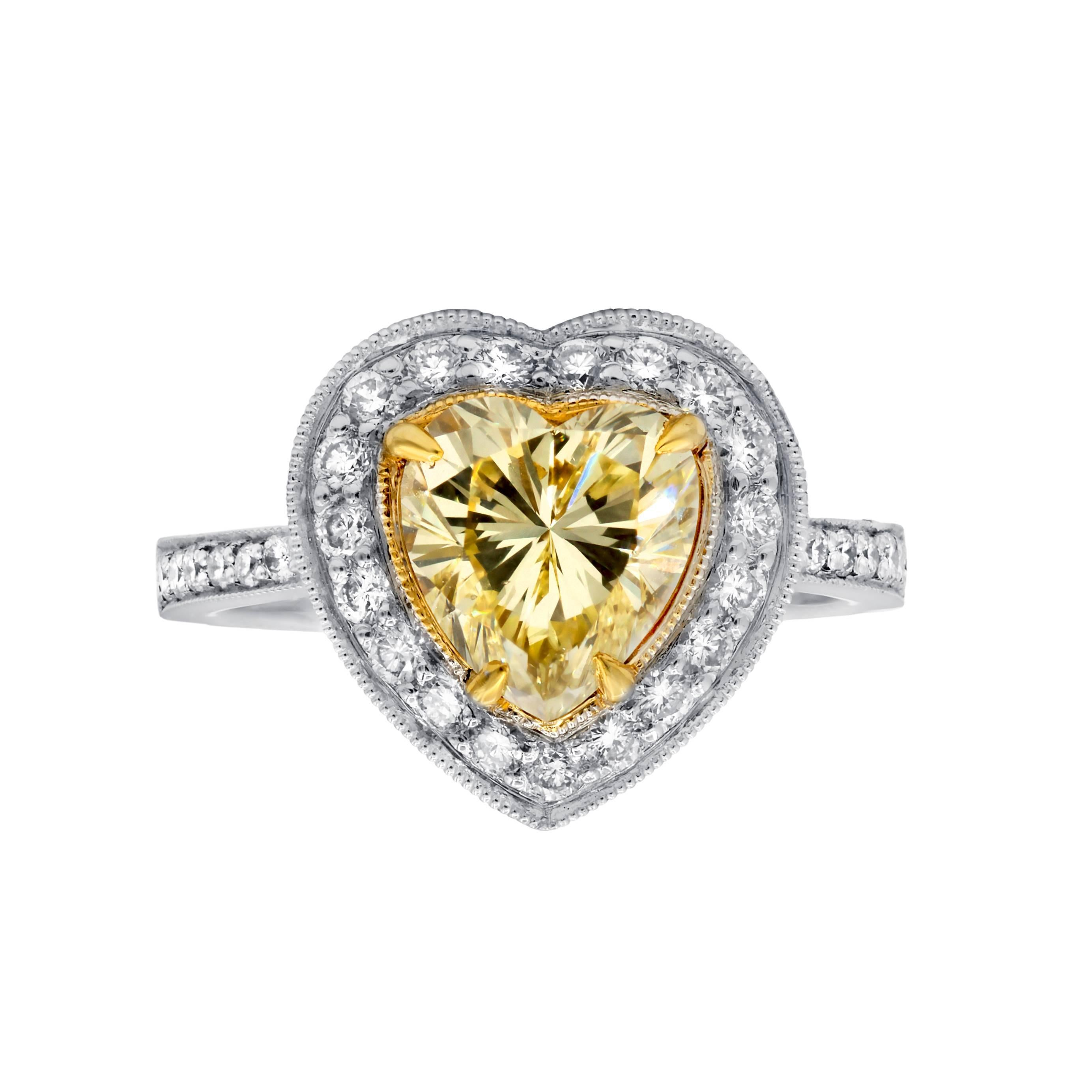 GIA Certified 2.00 Carat Fancy Yellow Engagement Ring