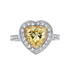 GIA Certified 2.00 Carat Fancy Yellow Engagement Ring