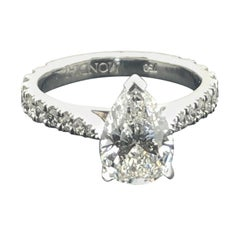 GIA Certified 2.00 Carat Pear Shaped White Diamond Engagement Ring