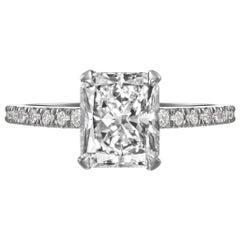 GIA Certified 2.00 Carat Radiant Cut Diamond Engagement Ring