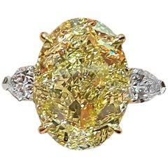 GIA Certified 20.02 Carat Oval Fancy Intense Yellow Diamond Ring