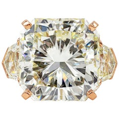 GIA Certified 20.05 Carat Radiant Cut Diamond Three-Stone Engagement Ring