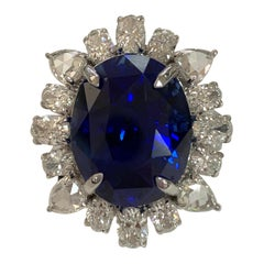 GIA Certified 20.08 Carat Blue Sapphire and Diamonds Ring