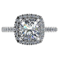 GIA Certified 2.01 Carat Cushion Cut Diamond H Color Pave Engagement Ring