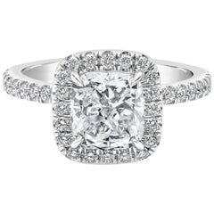 GIA Certified 2.01 Carat Cushion Cut Diamond Halo Engagement Ring
