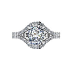 GIA Certified 2.01 Carat Cushion Diamond Double Pavé Diamonds Ring 18k Gold