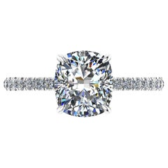 GIA Certified 2.01 Carat Cushion Diamond Pavé Diamond Setting in Platinum 950
