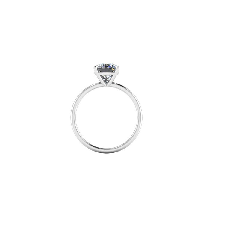 Modern GIA Certified 2.01 Carat Cushion Diamond Thin Low Setting in Platinum 950 For Sale