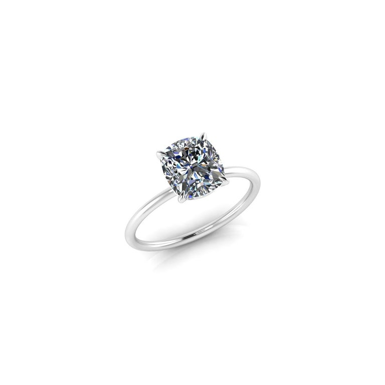 GIA Certified 2.01 Carat Cushion Diamond Thin Low Setting in Platinum 950 In New Condition For Sale In Lake Peekskill, NY