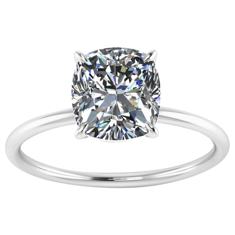 GIA Certified 2.01 Carat Cushion Diamond Thin Low Setting in Platinum 950 For Sale
