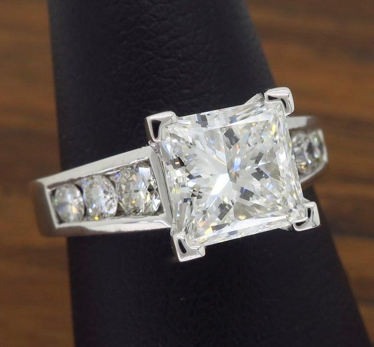 GIA Certified 2.01 Carat Diamond Platinum Engagement Ring For Sale 6