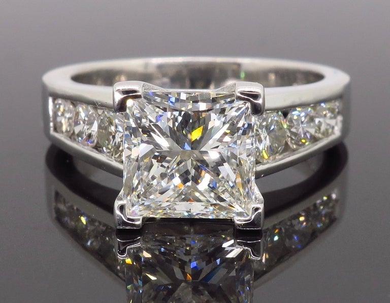 Princess Cut GIA Certified 2.01 Carat Diamond Platinum Engagement Ring For Sale
