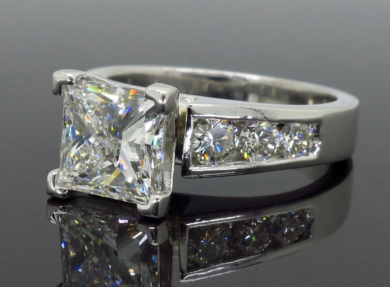 GIA Certified 2.01 Carat Diamond Platinum Engagement Ring In New Condition For Sale In Webster, NY