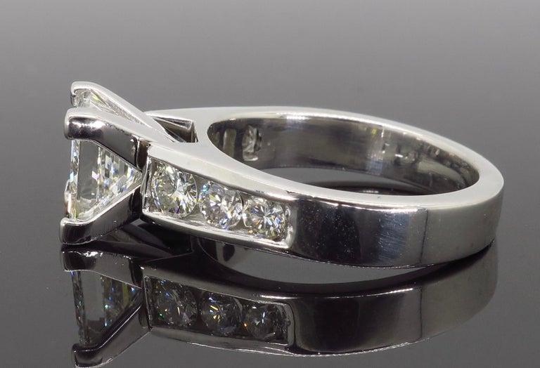 Women's or Men's GIA Certified 2.01 Carat Diamond Platinum Engagement Ring For Sale