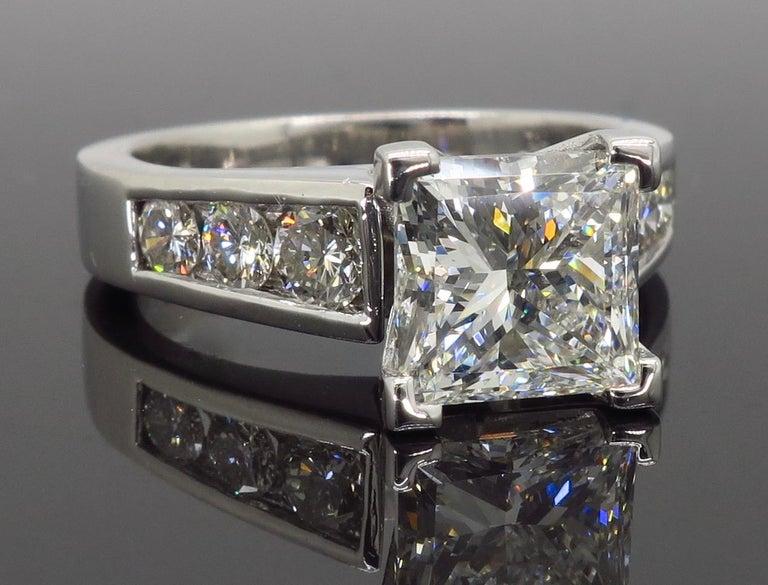 GIA Certified 2.01 Carat Diamond Platinum Engagement Ring For Sale 3