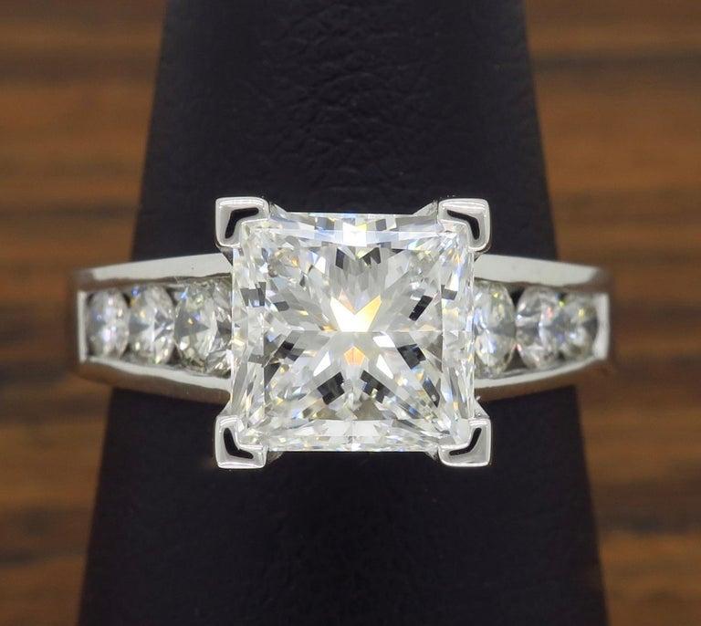 GIA Certified 2.01 Carat Diamond Platinum Engagement Ring For Sale 4