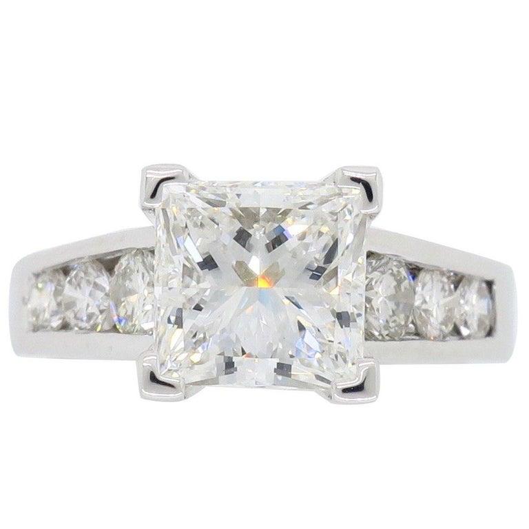 GIA Certified 2.01 Carat Diamond Platinum Engagement Ring For Sale