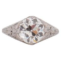 GIA Certified 2.01 Carat CD Peacock Edwardian Diamond Platinum Engagement Ring