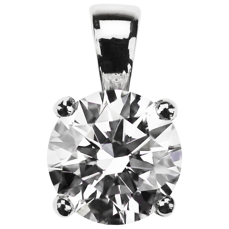 GIA Certified 2.01 Carat F VS1 Round Diamond Single Stone Solitaire Pendant For Sale