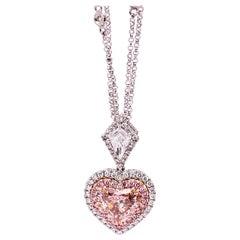 GIA Certified 2.01 Carat Fancy Light Orangy Pink Diamond Pendant Necklace