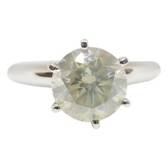 GIA Certified 2.01 Carat Fancy Light Yellow Round Diamond Ring 18 Karat Gold