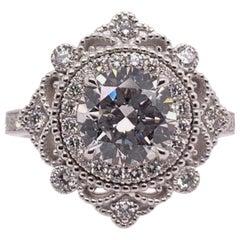 GIA Certified 2.01 Carat Gold Engagement Ring Natural H SI1 Gem Stone Vintage