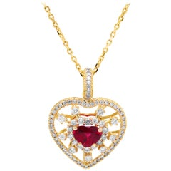 GIA Certified 2.01 Carat Heart Shape Ruby and Diamond Heart Pendant with Chain