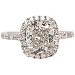 GIA Certified 2.01 Carat Natural Cushion Diamond I SI1 Platinum Engagement Ring