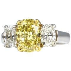 DiamondTown GIA Certified 2.01 Carat Natural Fancy Intense Yellow Diamond Ring