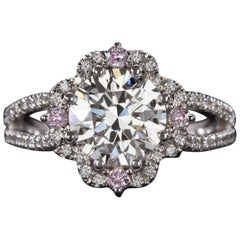 GIA Certified 2.01 Carat Natural White and Fancy Pink Diamond Ring
