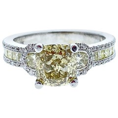 GIA Certified 2.01 Carat Natural Yellow Diamond Ring in 18 Karat White Gold