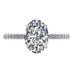 GIA Certified 2.01 Carat Oval Diamond Pavé Setting Platinum 950 Engagement Ring
