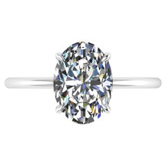 GIA Certified 2.01 Carat Oval Diamond Thin Setting Platinum 950 Engagement Ring